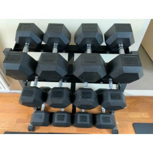 Hex dumbellset 37,5-50kg plus rek
