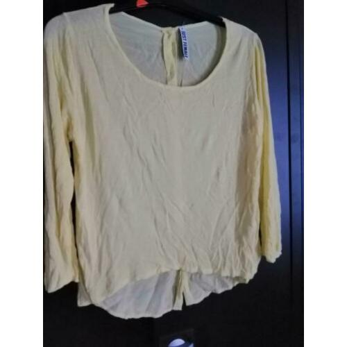 Just Female M blouse geel top zijde